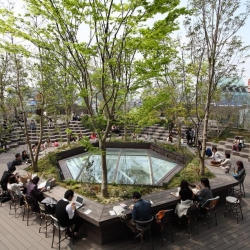Tokyo Plaza Omotesando Project its garden rooftop allowing for isolation from the intense pace of Tokyo
