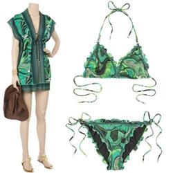 Just what we all need in summer ~ playfully refreshing Missoni prints ~ Missoni Columbia Halter Bikini and the Missoni Corinto Silk Kaftan.