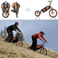 Bergmoench ~ a portable bike you can fold up and wear on your back!