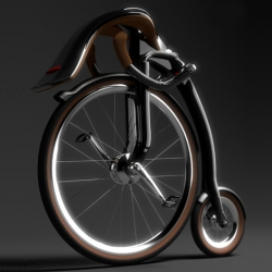 Oneybike, by industrial designer Peter Varga, is a leisure bicycle concept inspired by the classical highwheeler simplicity, connected with comfort of recumbent bike with retro feelings.