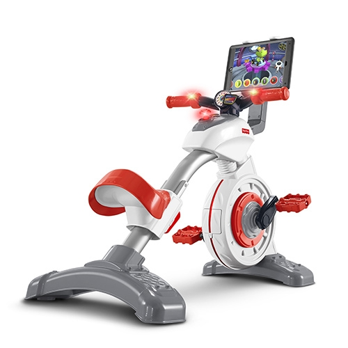 Fisher-Price Think & Learn Smart Cycle. New CES launch - a little stationary bike for kids, complete with tablet stand for video watching and STEM educational apps (from Fisher-Price)