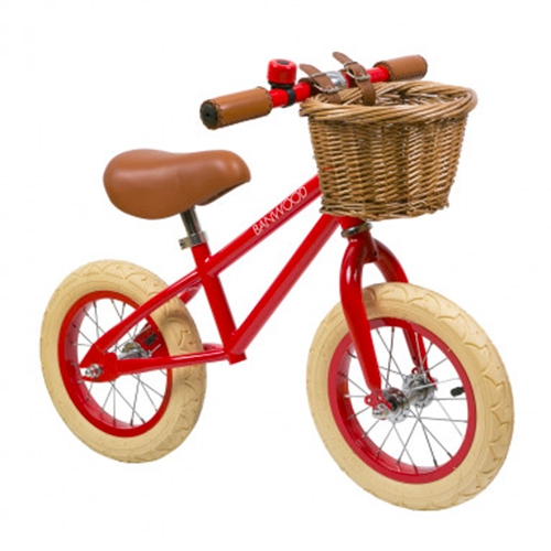 Banwood Laufrad Rot - adorable retro kids bike, wicker basket and all!