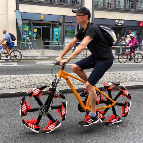 Shoe bike created and showcased by Continental Tyres UK at the Prudential RideLondon, a world-class festival of cycling in London.