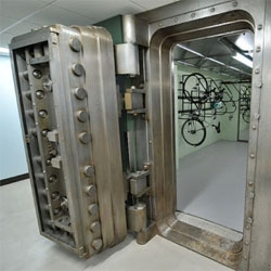 Incredible bike storage in a former bank safe in Portland's historic Spalding Building.