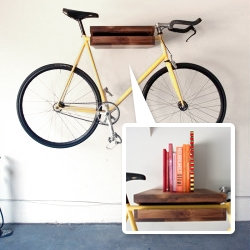 Chris Brigham's Walnut 'Bike Shelf'. It can hold your bike, as well as anything else you want on it quite easily.