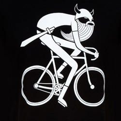 The Danefae Biking Viking! Awesome white on black t-shirt.