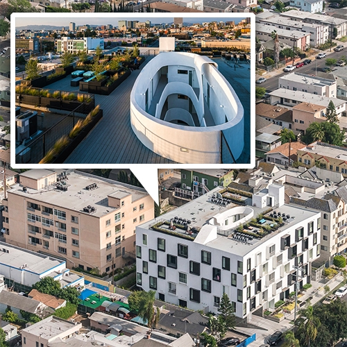 Lorcan O'Herlihy Architects (LOHA) Mariposa1038 68,000 sqft, 32 unit apartment building in Koreatown Los Angeles has an interesting facade, roof top deck/garden, and funky round courtyard.