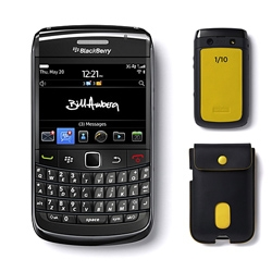 Exclusive limited–edition Bill Amberg BlackBerry Bold 9780 smartphone in yellow.