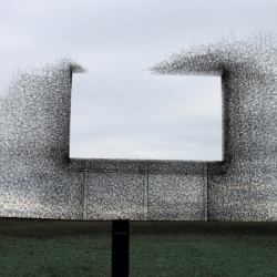 Lead Pencil Studio's 'negative space' billboard on the US-Canadian border.