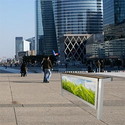 Relja Perunović's Billboard Bench concept allows a billboard panel to be rotated within its frame to form a bench.