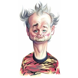 That's Bill Murray as reproduced thru the hands of John Kascht. John's another illustrator who can create gentle colorful caricatures or very bold symbolic ones with just a pen stroke...