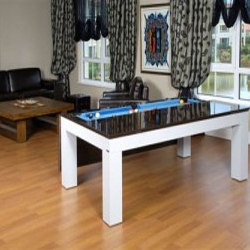 Koraltaruk Bilardo, furniture manufacturer from Turkey - another modern pool/billiards table that converts to a dining table. The table top flips open with hinges on the side.