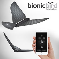 Bionic Bird: The Furtive Drone. Inspired by the iconic 1969 TIM, the rubber-band bird. Bionic Bird is packed with micro-technologies weighing less than 10 grams. Control it with your smartphone.