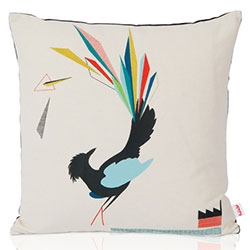 Funkleshop's Gullfuglen (The Golden Bird) Cushion- Multicoloured embroidery on a cream textile, dark grey backside with invisible zipper.