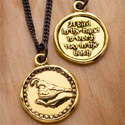 Kimberly Baker's new collection takes on 7 old adages and transforms them into beautiful coin necklaces