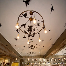 Desire to Inspire highlights these beautiful birds painted on the ceiling of a bar by Geremia Design