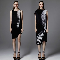 Helmut Lang's Resort 2012 collection features some beautiful prints with x-ray like images of birds in flight ~ as well as some subtle feathery adornments.