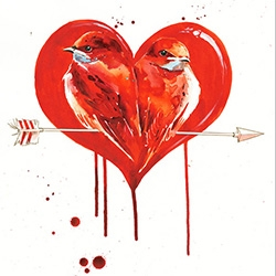 Lora Zombie's Love Birds Screen Print ~ limited edition of 49