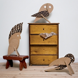 MDF bird toys by Our children's gorilla. Their line is innovative, original, fun, creative and simply functional. They encourage creativity and imagination and they strive to produce timeless classics with a sense of humour.