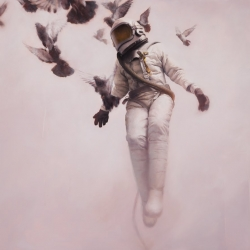 here is the latest of 'spaceman floating in urban landscape' Oil painting by Jeremy Geddes. sublime.