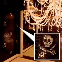 Bisazza goes blinged out pixel art with their new Crystal Collection ~ with Skulls with swarovski crystal tiles that add a fascinating depth and sparkle to the tiled walls...