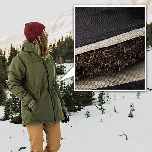Bison Sport Jacket by United By Blue. Men's and Women's active, versatile winter jackets that is insulted with B100 Fil - their special blend of bison's hollow outer guard hairs and recycled polyester. Stay warm like a bison!