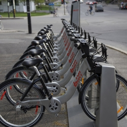 Montreal now enjoys North America's first large-scale bicycle sharing system. The bikes are computer-chip based, solar-powered and WiFi-enabled, with LED headlights and taillights!