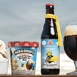 Ben & Jerry's x New Belgium = Salted Caramel Brown-ie Ale ice cream and bottle of Salted Caramel Brownie Ale beer!