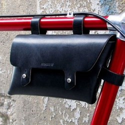 For all you fixed-gear aficionados this hand-stitched leather bike frame pouch from billy kirk should be on your wish list.
