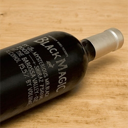 Black Magic in a Bottle! Laser etched imported glass bottle  for Small Gully, by wine maker Stephen Black ~ designed by /M/A/S/H/