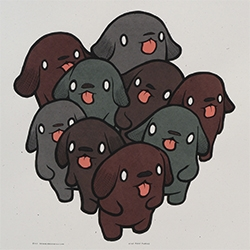 Nine Black Puppies - the latest print from Jay Ryan (The Bird Machine). Signed and numbered edition of 150.