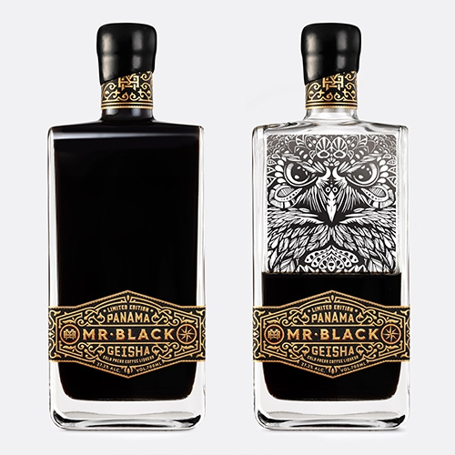 Packaging design for the exceptionally limited Mr Black Panama Geisha Coffee Liqueur by Co Partnership.