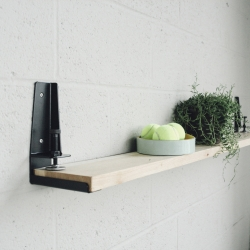 The Floyd Shelf is a tool that allows you to create a shelf from a flat surface by clamping to it.  Like The Floyd Leg, the shelf is produced in Detroit.