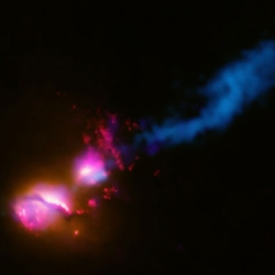 Black hole with death ray totally obliterating a neighboring galaxy.  So nuts!