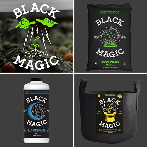 Black Magic Performance Hydroponics have fun branding and packaging graphics!
