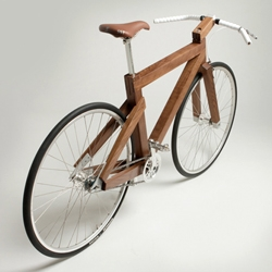 Black Walnut Wooden Bike by Lagomorph Design.