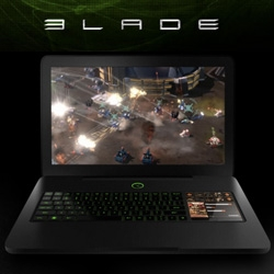 """Razer Blade ~ new laptop from razer ~ 17"""" 1080p thin aluminum body ~ and a lcd backed touchpad with programmable graphic buttons (whether for gaming... or photoshop, etc?) - all black with green backlighting..."""