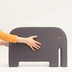 Bleebla 'Animals - Elephant' a big friend made in a fabric-lined soft and flexible polyurethane foam monobloc, to sit, lay or ride it!