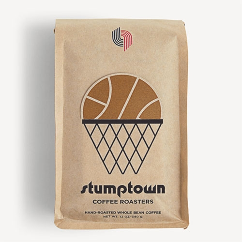 Stumptown Blazer's Blend Coffee. Fun packaging, love the use of the basketball cut out sitting into the slit that matches their old packaging style.
