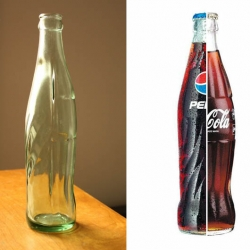 Blended Soda Brands Bottle. Impressive cross-branded, hybrid soda. The Coke/Pepsi bottle is supposedly a 'mistake' or factory defect bottle.