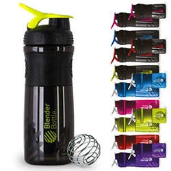 Blender Bottle SportMixers in 20 and 28oz. Definitely the best looking shaker bottles we have found - perfect for mixing up your drinks super smoothly with the blender ball