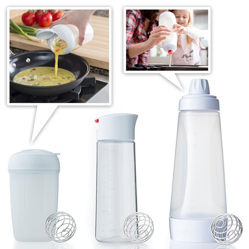 Whiskware by Blender Bottle. They've adapted their signature ball whisk from powder drink bottles to kitchen goods to mix eggs, dressing, and pancakes (not that you can't use your existing blender bottles for those too!)