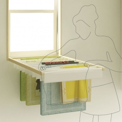 Blindry is a clever window blind that turns into a fold-down laundry rack for drying clothes indoors. Designed by Kim Bobin and Ko Kyungeun.