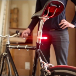 Blink Steady is a smart bike light that turns on automatically when you are riding and shuts off when you're not. It also features a light sensor that detects when it's dark enough be on.