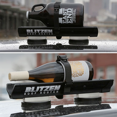 Blitzen: Roof Hooch - The rooftop beverage chiller by Deeplocal! For those of you in colder climates, you can strap a bottle to the Blitzen and magnetically secure it to your car before driving and arrive with a chilled drink ready to serve!