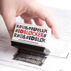"ID Blocker stamp ~ ""The stamp contains thousands of tiny symbols that block out whatever is under them when you use it."" Let's just hope the ink isn't lifted off too easily!"
