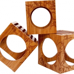 3 blocks stools by Kalon Studios, beautiful mix of shapes all in sustainable materials.