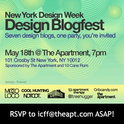 ICFF Design Blogfest PARTY! NYC Soho May 18th - first official NOTCOT event... coming?