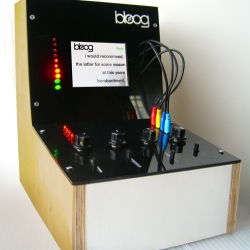 BLOOG - A machine that scrambles words and sentences of real-time blog posts, based on the look of a 1960's Moog synthesizer. Pulling in RSS feeds, it scrolls through the text and adds/subtracts words.