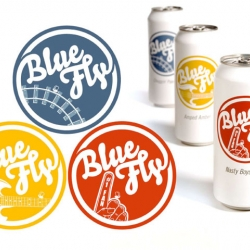 Blue Fly's various brews represent historic moments in Cincinnati's heritage, as told through the eyes of an old fly. Alternating primary colors and dynamic variations of the logo signify different brews.
